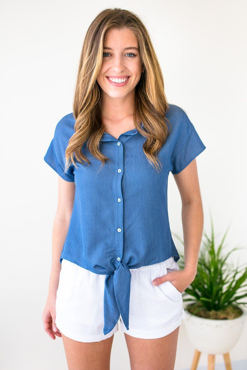 Button Up Blue Tie Front Top