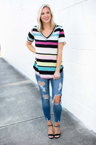 Black Stripe V Neck Tee