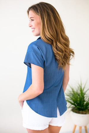 Blue Tie Front Collar Top