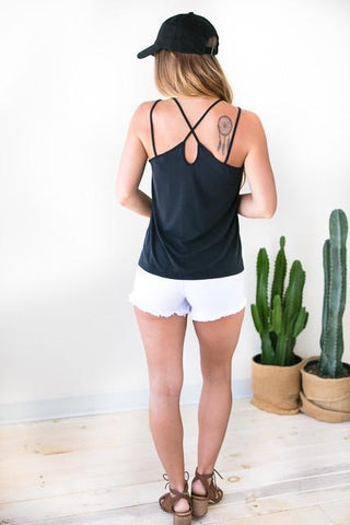 Wait For It Strappy Tank - Black