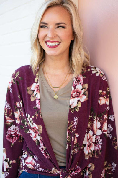 Tops I'd Run Away with You Floral Kimono in Wine - Lotus Boutique