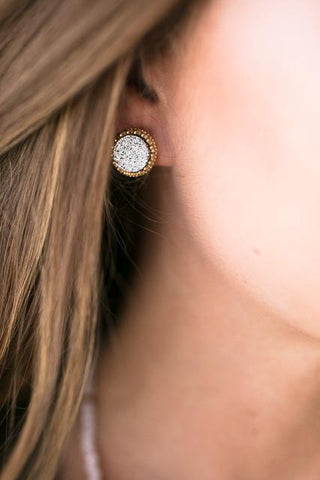 Symphony Circle Druzy Earrings