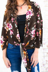 Tops I'd Run Away with You Floral Kimono in Olive - Lotus Boutique