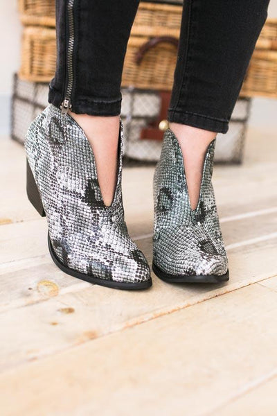 Reyn Snakeskin Bootie-Shoes-Lotus Boutique-Lotus Boutique