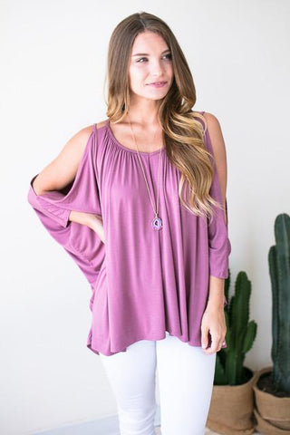 Pink Cloud Cold Shoulder Top