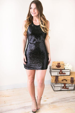 The World's Your Stage Sequin Dress- Black