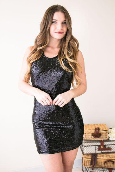 Dresses The World's Your Stage Sequin Dress- Black - Lotus Boutique