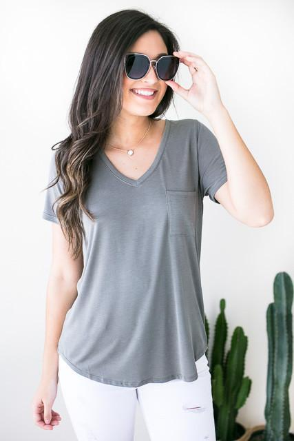 Love to Be Basic Pocket Tee - Grey