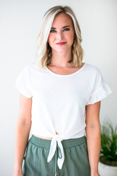 Tops Thank Me Now Tie Front Crop Top in Ivory - Lotus Boutique