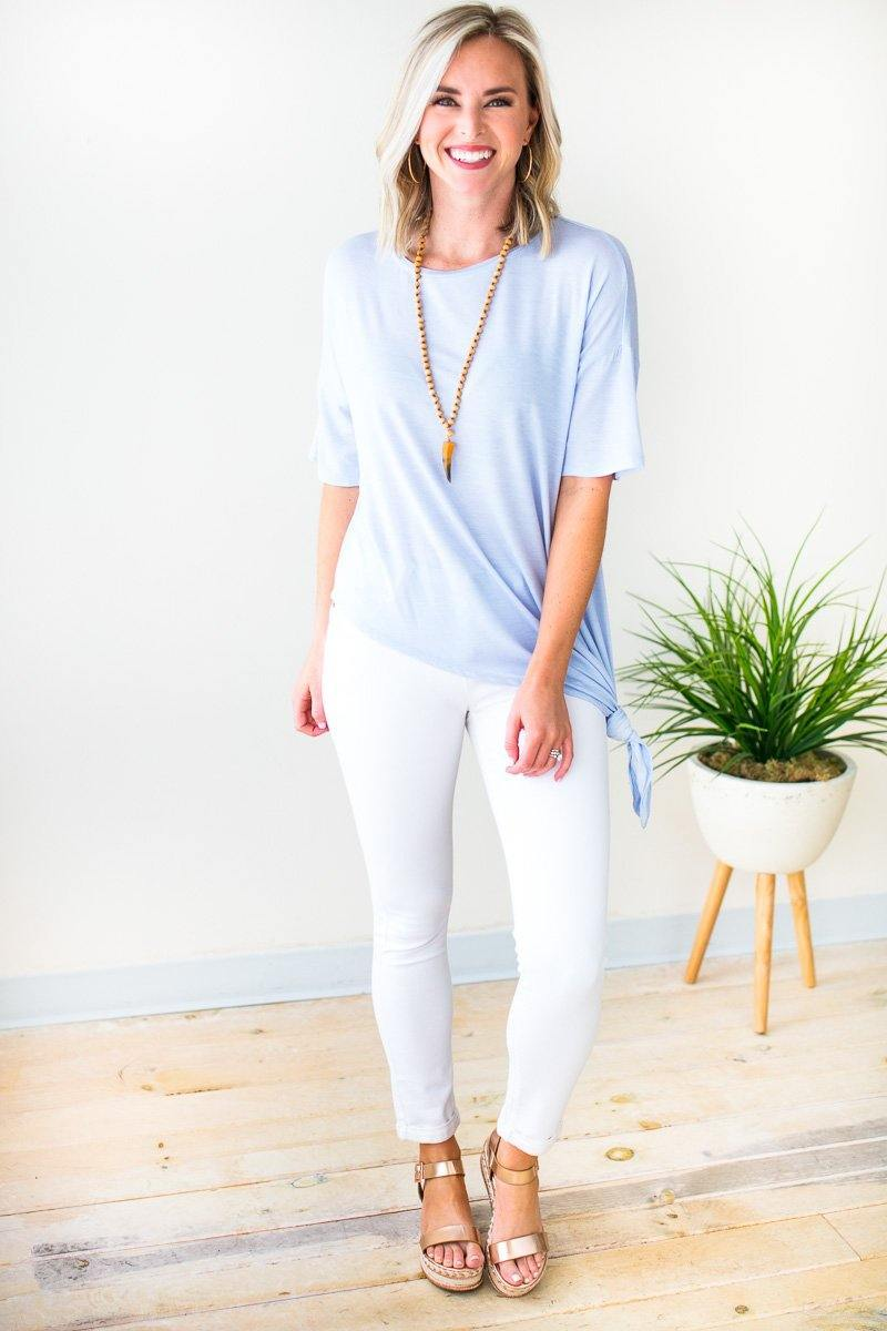 Tops Don't Live Without Asymmetric Knot Top - Light Blue - Lotus Boutique