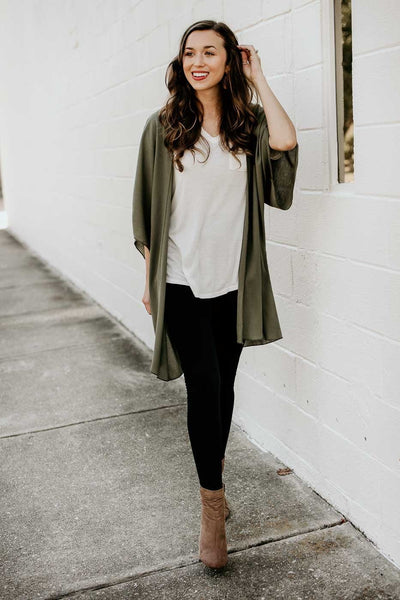 In the Best Way Solid Kimono in Olive