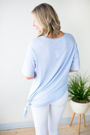 Blue Side Knot Asymmetric Hem Top