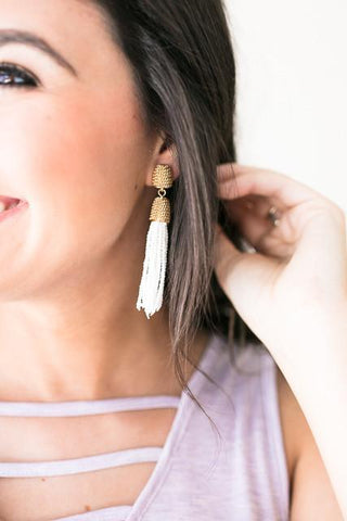 Still Got Time White Bead Tassel Earrings