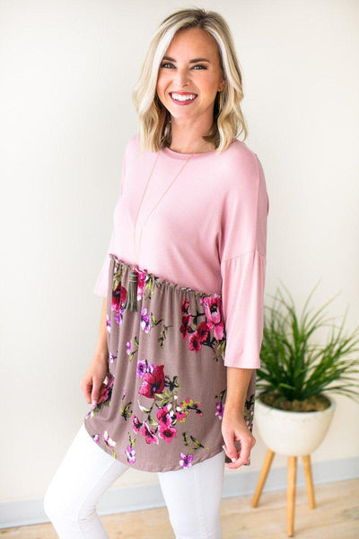 Tops Wichita Wildflowers Mauve Babydoll Top - Lotus Boutique