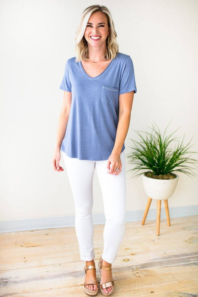 Tops Not Your Boyfriend's Pocket Tee in Blue Haze - Lotus Boutique