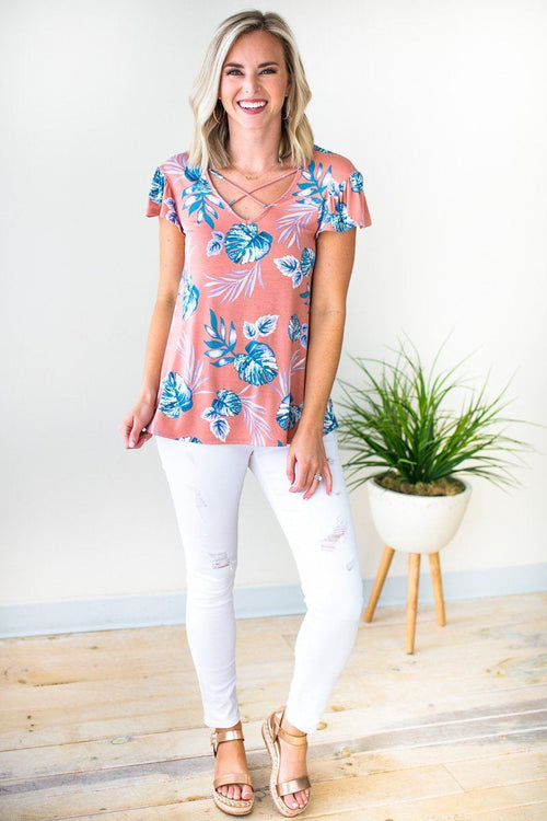 Pink Palm Print Short Sleeve Top