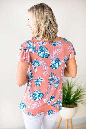 Short Sleeve Pink Palm Print Top