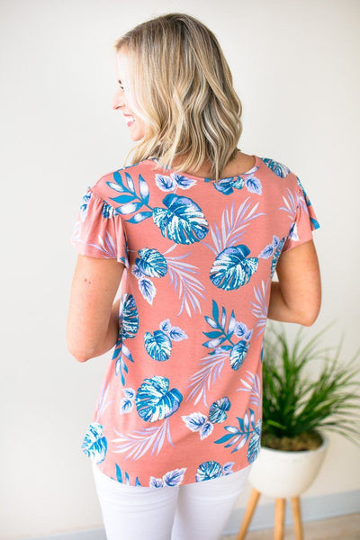 Tops Sweet Return Criss Cross Palm Print Top - Lotus Boutique