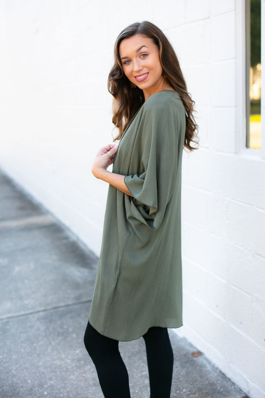 Tops In the Best Way Solid Kimono in Olive - Lotus Boutique