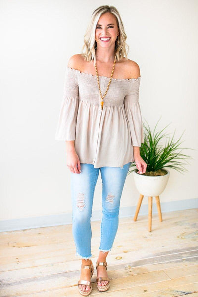 Tops You're the Shade I Want Smock Off Shoulder Top - Lotus Boutique