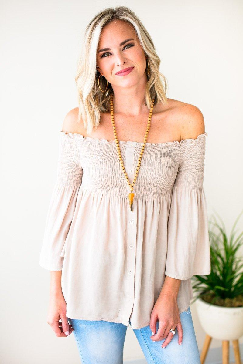 Taupe Smock Top Off The Shoulder