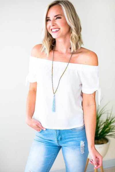 Tops Best Life Off Shoulder Tie Sleeve Top in Ivory - Lotus Boutique