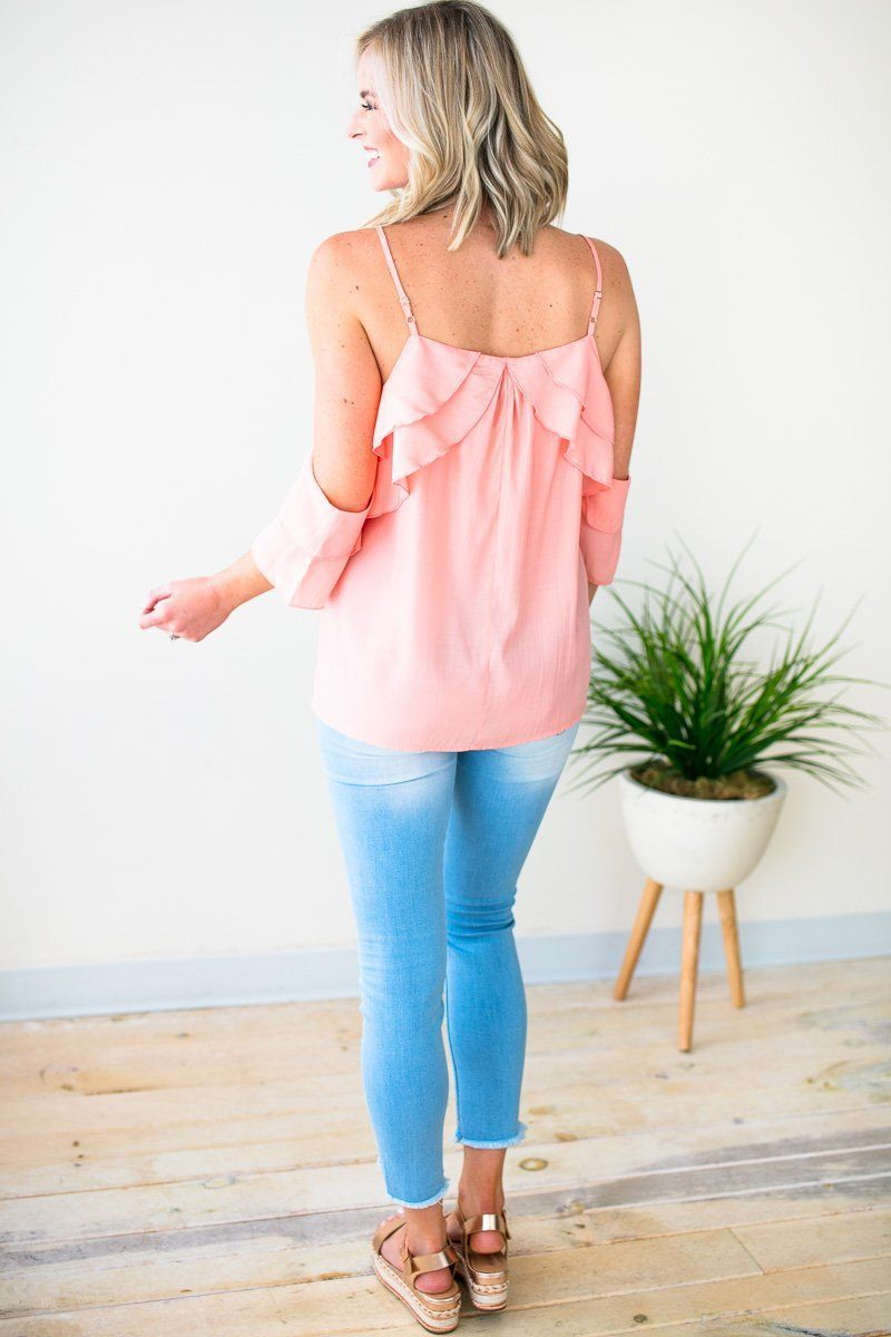Peach Ruffle Cold Shoulder Top