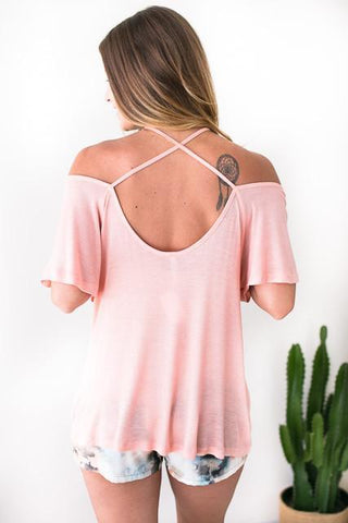 Wonderwall Cross Back Top - Peach