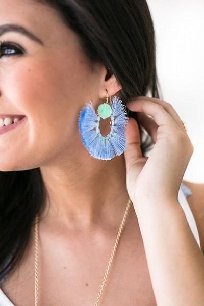 Barbados Trip Tassel Earrings - Blue-Accessories-Lotus Boutique-Lotus Boutique