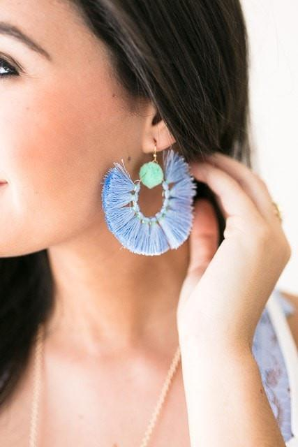 Accessories Barbados Trip Tassel Earrings - Blue - Lotus Boutique