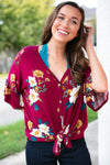 Tops Happy Now Fall Floral Tie Front Top - Lotus Boutique