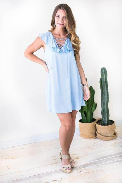 Sweet Girl Lace Up Ruffle Dress