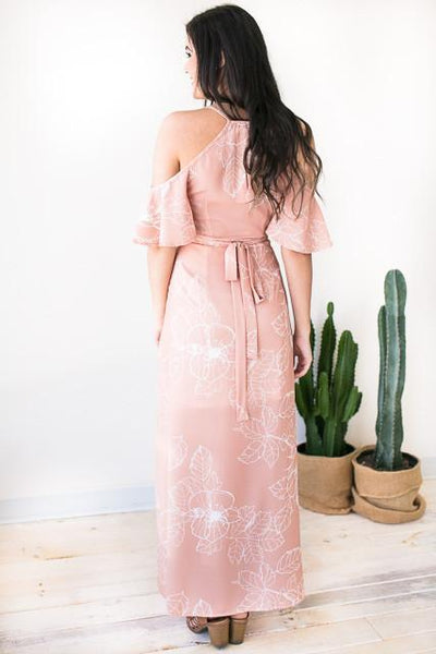 Dresses Oh My Peach Wrap Maxi Dress - Lotus Boutique