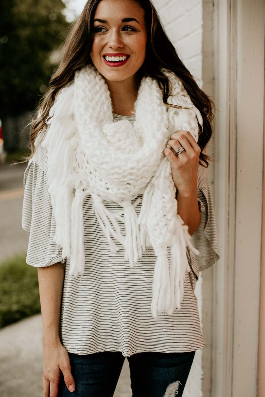 Accessories Clearly Cozy Fringe Wrap Scarf - Lotus Boutique