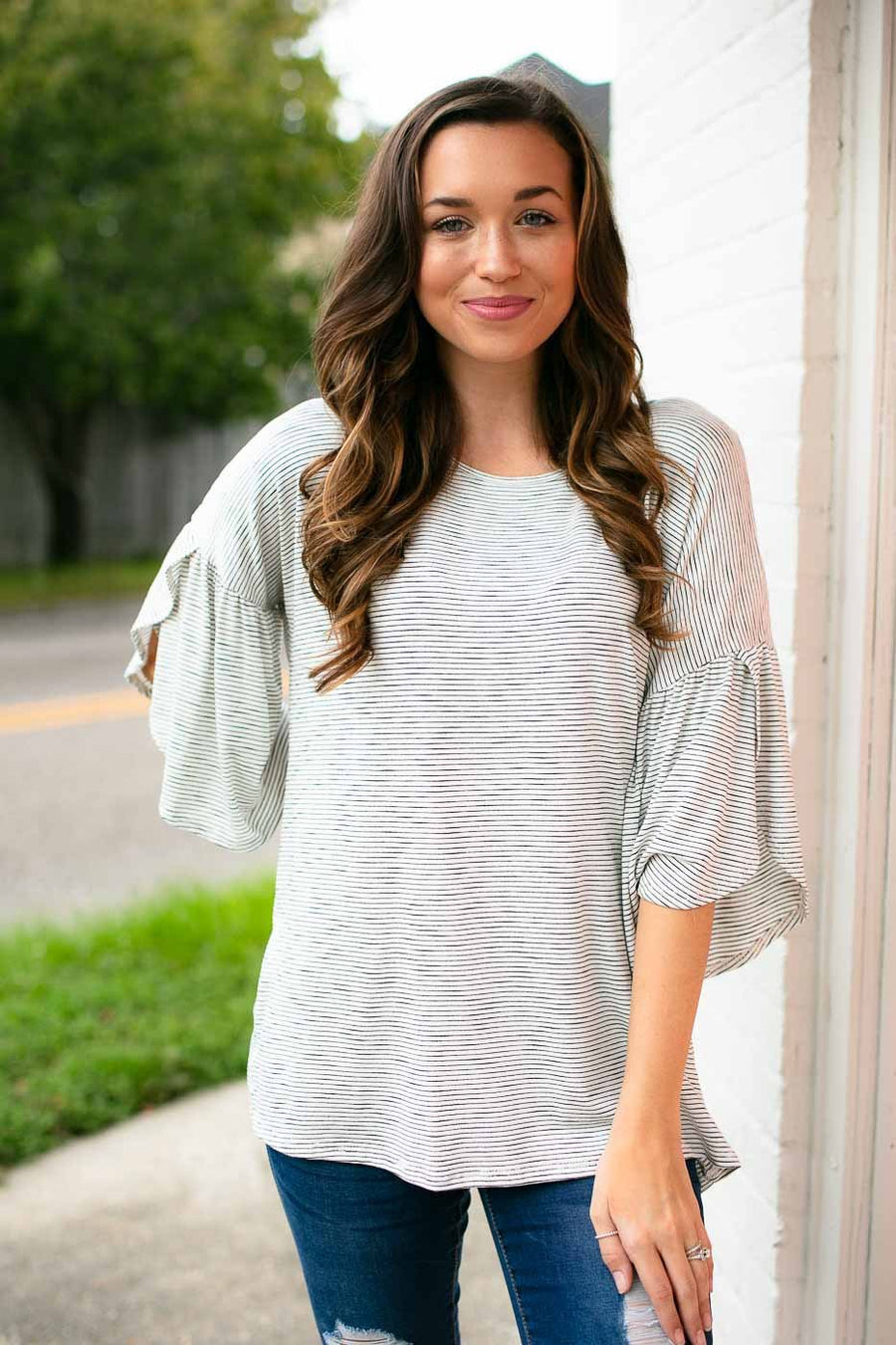 Tops Stripe Remedy Tulip Sleeve Top - Lotus Boutique
