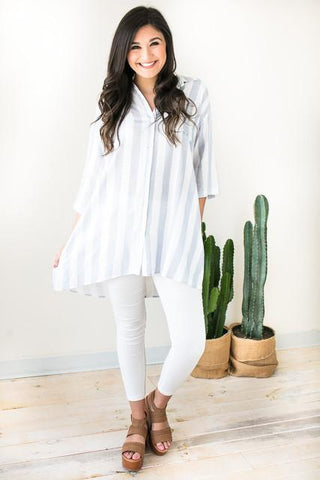 Linen Hero Stripe Tunic with Pockets