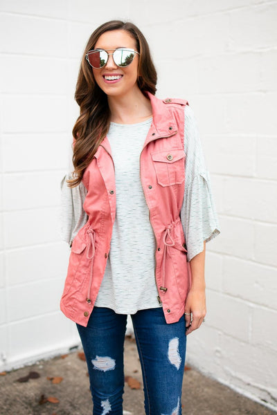 Tops Uproar Faux Fur Lined Blush Utility Vest - Lotus Boutique