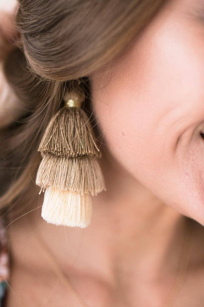 Accessories Heidi Tripple Tassel Earrings in Nude - Lotus Boutique