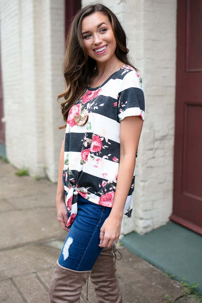 Tops Come and Go Stripe Floral Tie Front Top - Lotus Boutique