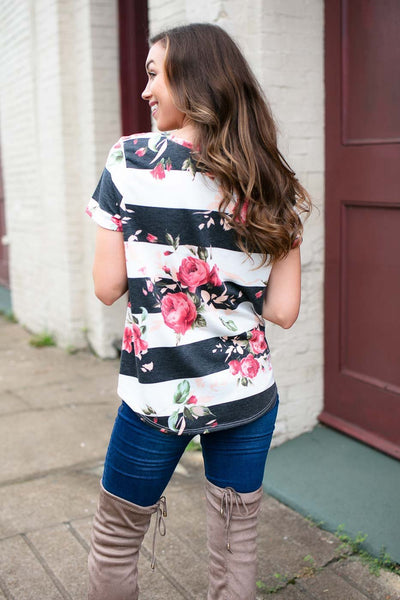 Tie Front Floral Stripe Short Sleeve Top