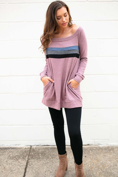 Tops The Only Way Wide Neck Sweater Tunic - Lotus Boutique