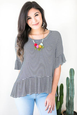 Ocean Avenue Stripe Ruffle Top