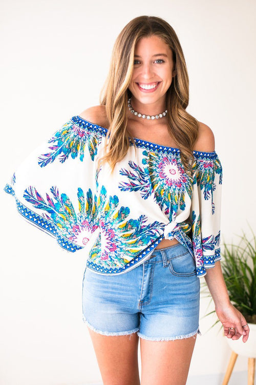 Off Shoulder Tropical Top