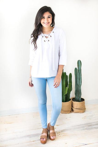 White Beam Lace Up Top