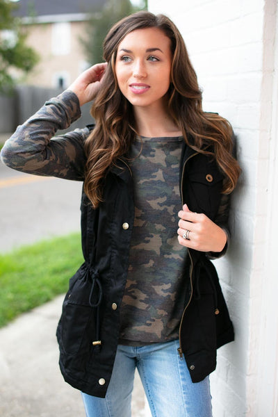 Tops Uproar Faux Fur Lined Black Utility Vest - Lotus Boutique
