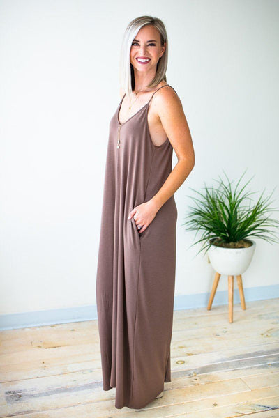 Dresses Temperature Rising Tank Maxi Dress - Mocha - Lotus Boutique