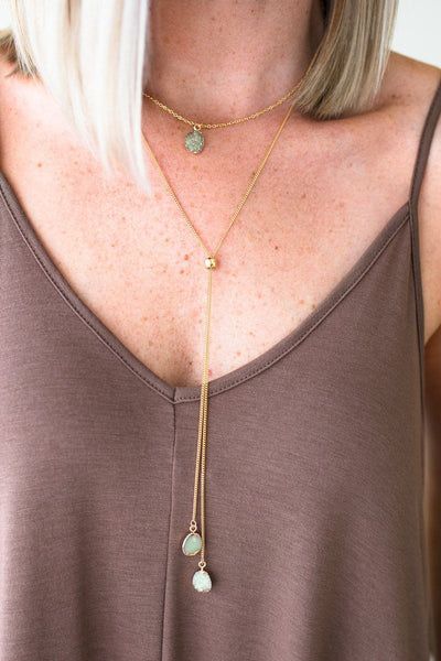Accessories Lean on Us Layered Druzy Necklace in Green - Lotus Boutique