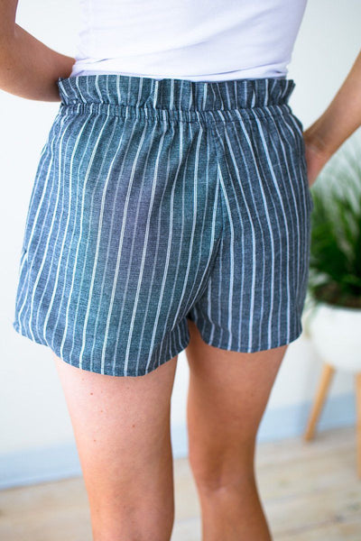 Bottoms Worth the Wait Stripe Ruffle Waist Shorts - Lotus Boutique
