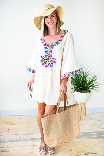 Dresses Tropic Like it's Hot Fringe Cover Up - Lotus Boutique