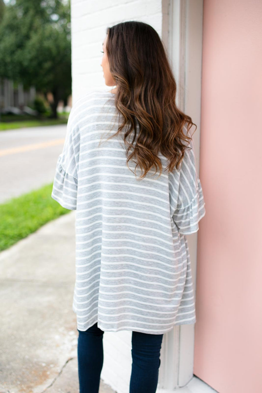 Tops Rockin The Stripes Flowy Cardigan - Lotus Boutique